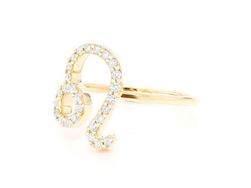 Leo Zodiac Ring 14K   0.12ctw