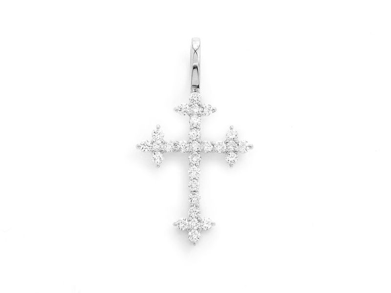 Three Point Cross Pendant 14K   0.44ctw