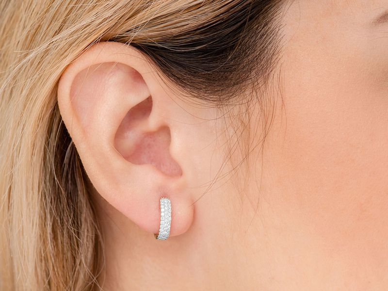 Issa Wide 3 Row Huggie Hoop Earrings 14K   0.36ctw