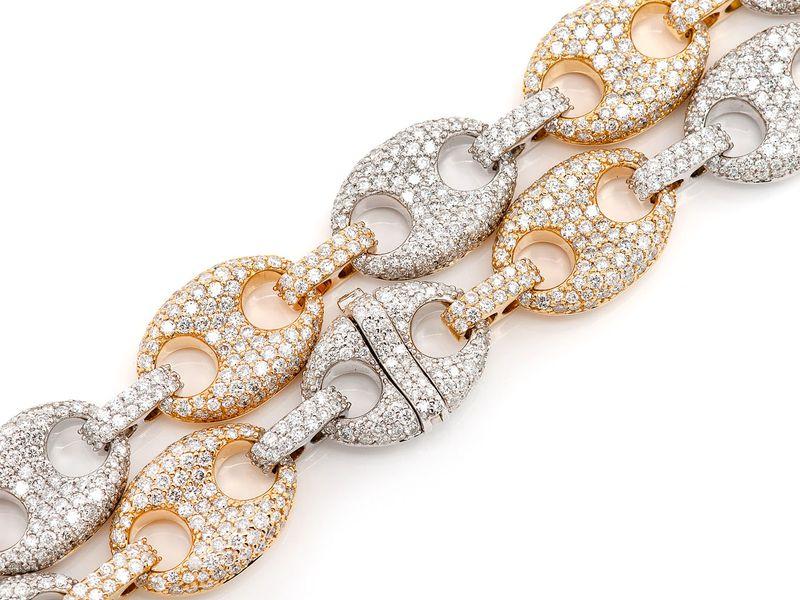 Diamond Martiner Link Chain 14.25mm Necklace 14K  33.27ctw