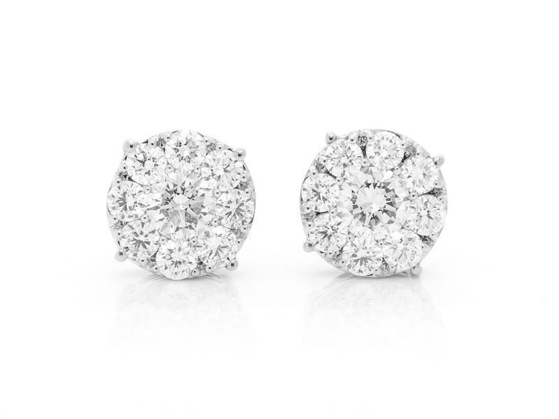 Solitaire Cluster Earrings 14K   1.50ctw