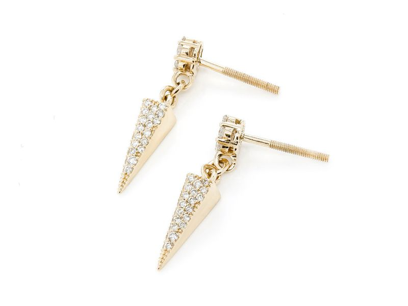 Pyramid Dangling Earrings 14K   0.65ctw