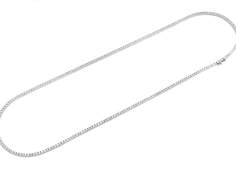 5pt Tennis Necklace 14K   10.20ctw