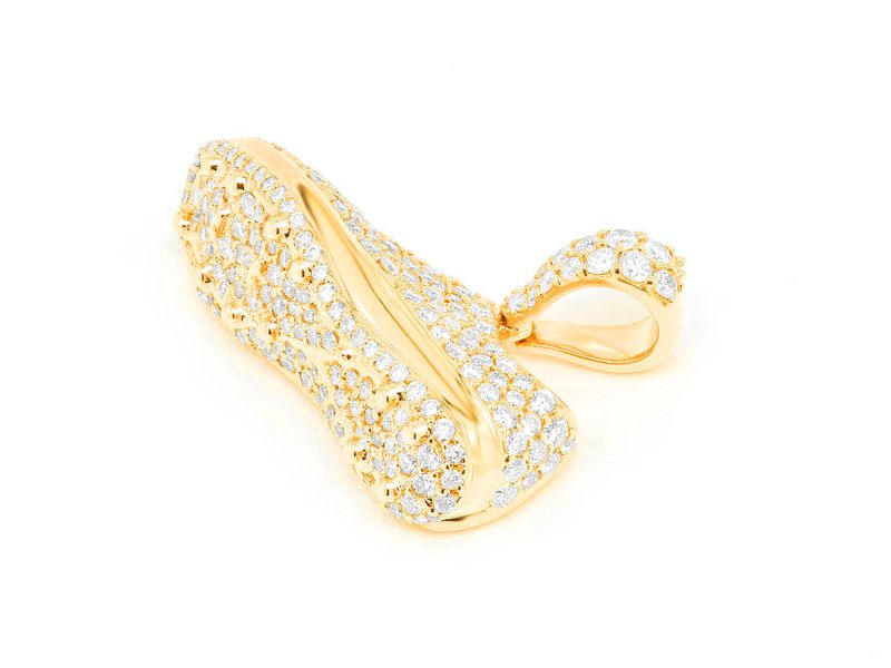 Soccer Cleat Shoe Pendant 14K   1.43ctw
