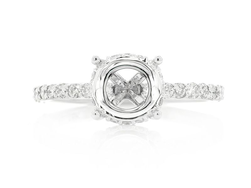 Round Under Halo Diamond Semi Mount Ring 18K   0.54ctw