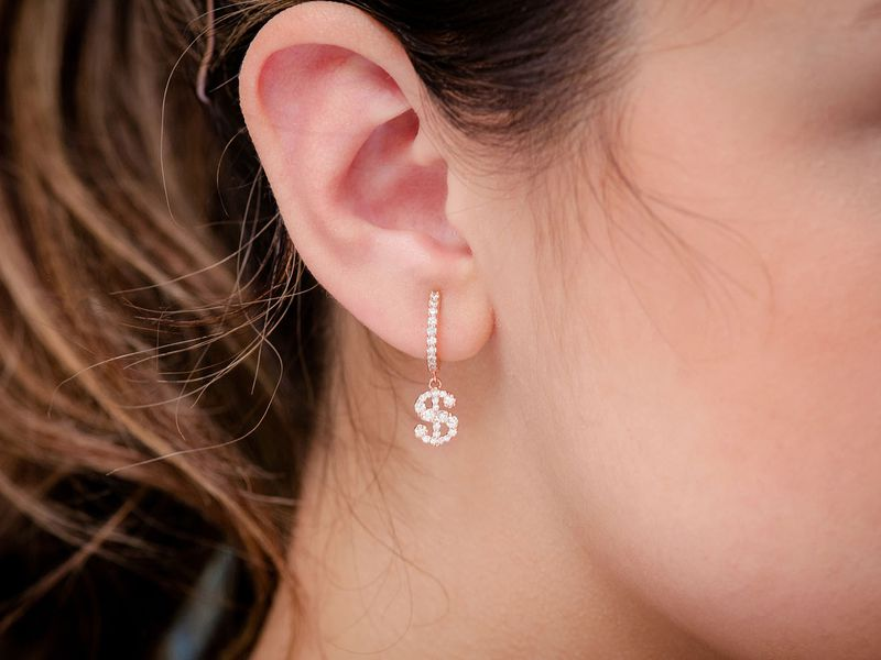 Dangling Dollar Sign Huggie Hoop Earrings 14K   0.65ctw