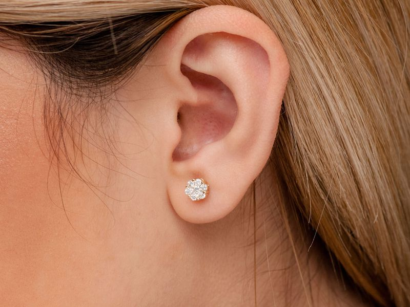 Round Flower Stud Earrings 14K   0.50ctw