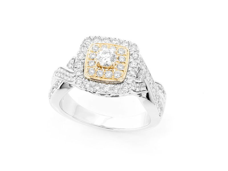 Double Square Halo Twisted Shank Ring 18K   0.99ctw