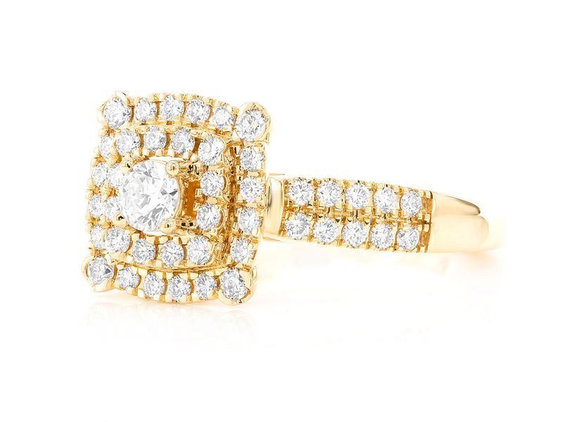 Square Double Halo Ring 14K   0.74ctw