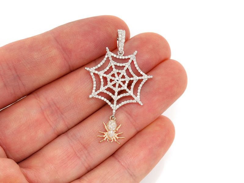 Spider Web Pendant 14K   1.00ctw