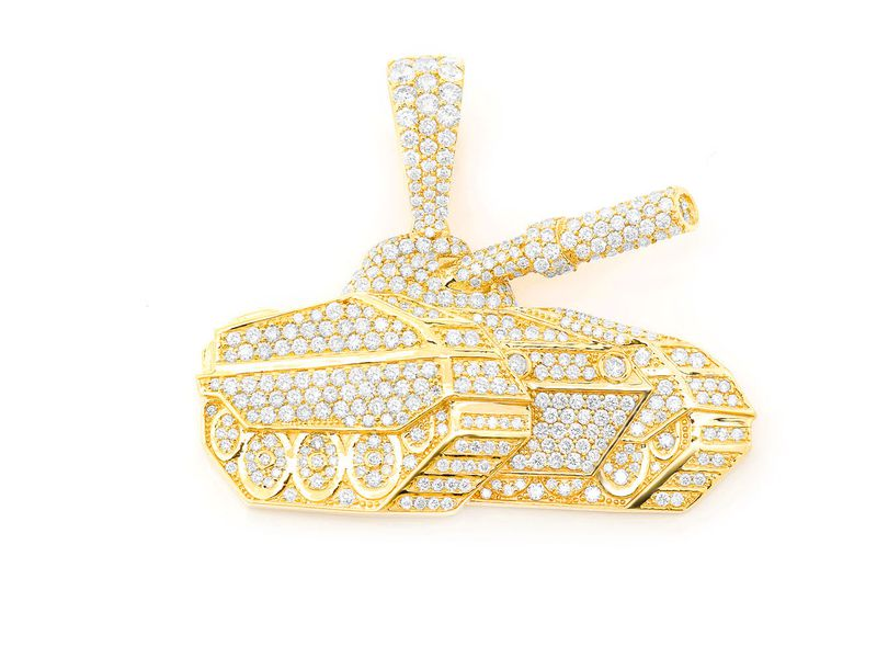 Battle Tank Pendant 14K   4.26ctw