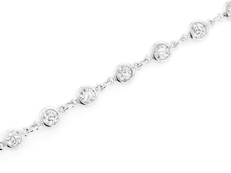 Round Bezel Set Link Bracelet 14K   1.55ctw