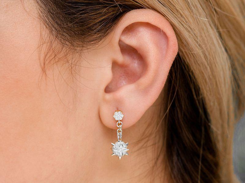 Spike Ball Dangling Earrings 14K   1.18ctw
