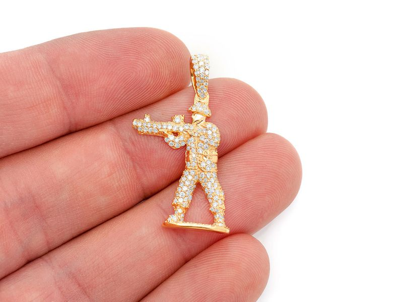 Shooting Army Man Pendant 14K   1.09ctw
