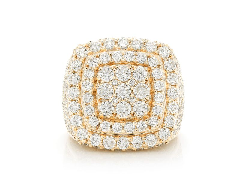 Step Double Halo Signet Ring 14K   6.95ctw