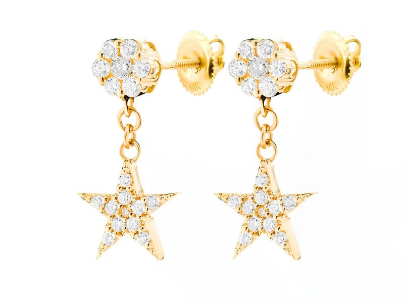 Star Dangling Cluster Earrings 14K   0.40ctw