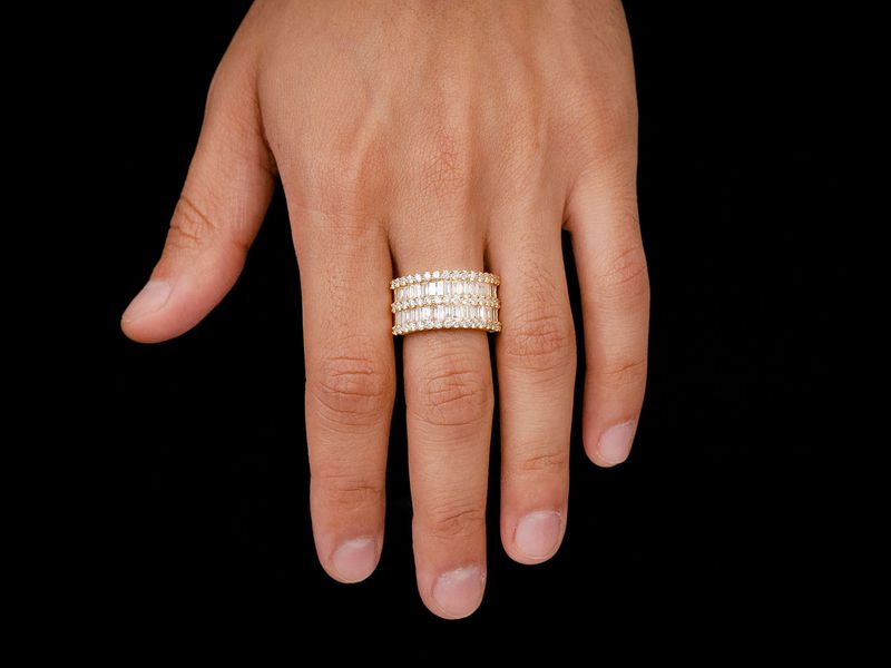 3 Row Baguette Ring 14K   3.44ctw