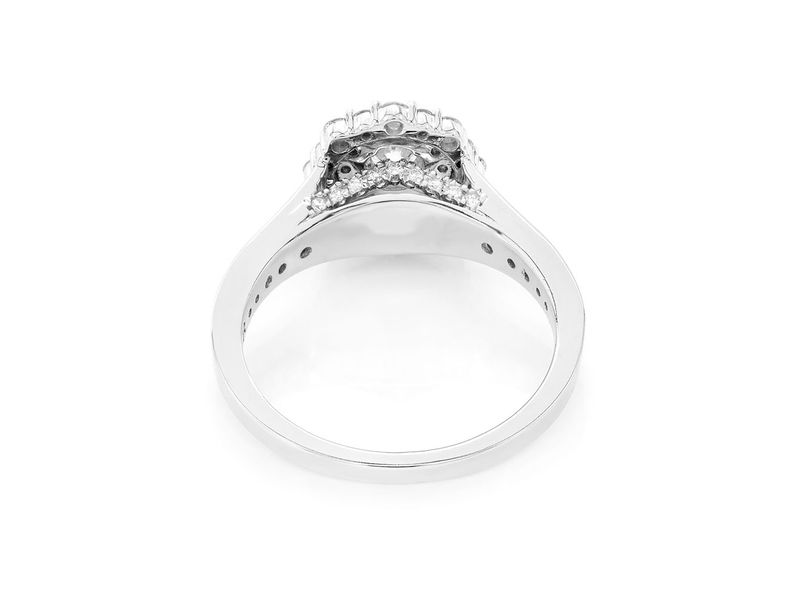 Fancy Double Halo Ring 14K   0.75ctw