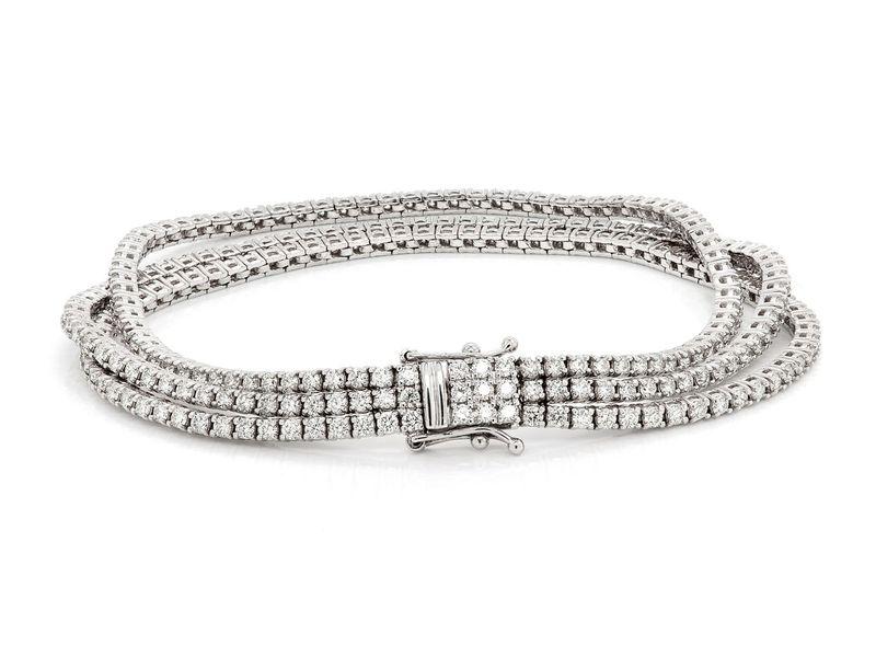 Three Row Bracelet 14K   5.45ctw