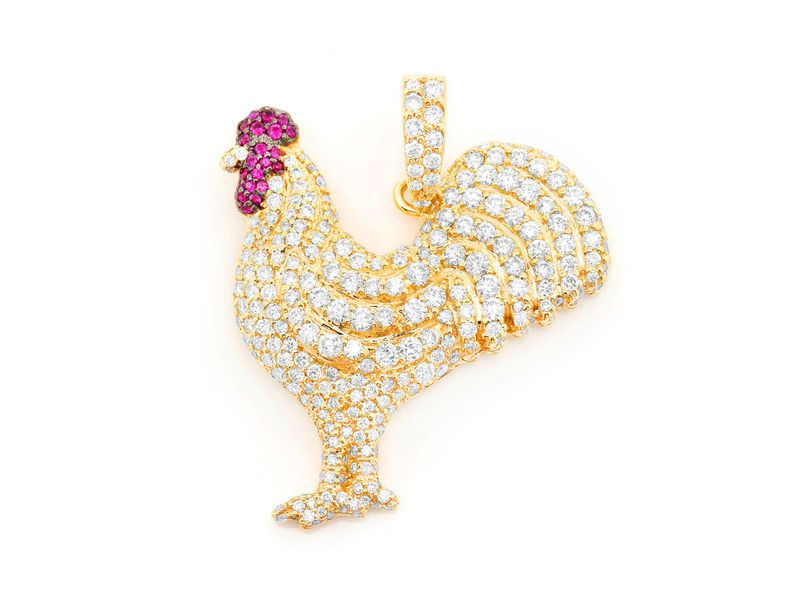 Ruby Rooster Pendant 14K   2.25ctw