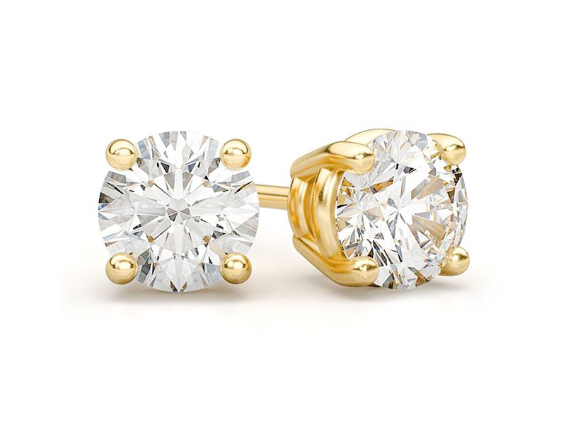 Solitaire Diamond Stud Earrings 14K   0.75ctw