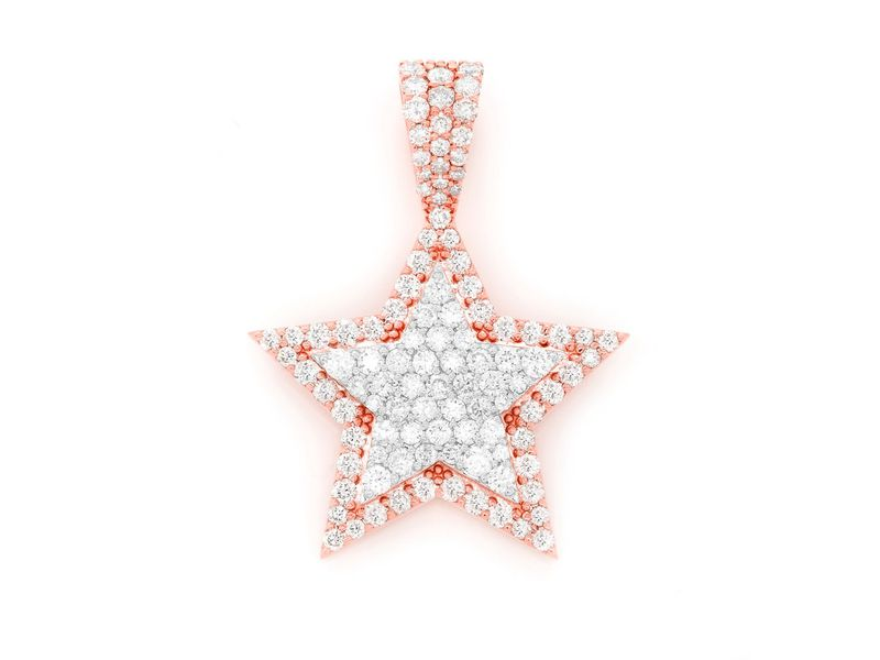 Double Layer Star Pendant 14K   0.95ctw