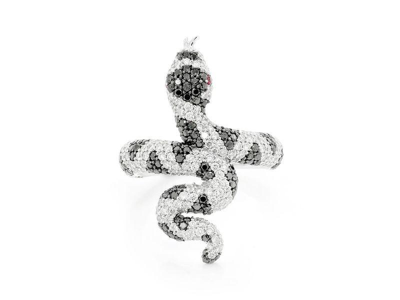 Copperhead Snake Ring 14K   2.56ctw