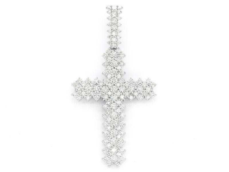 5 Row Cross Pendant 14K   5.50ctw