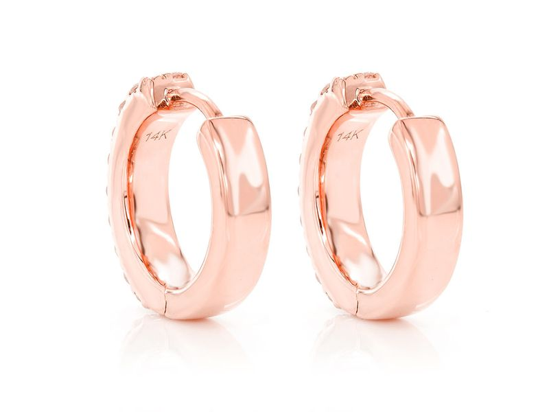 2 Row Flat Huggie Hoop Earrings 14K   0.35ctw