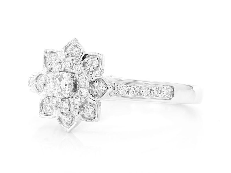 Single Band Three Layer Floral Engagement Ring 14K   0.43ctw