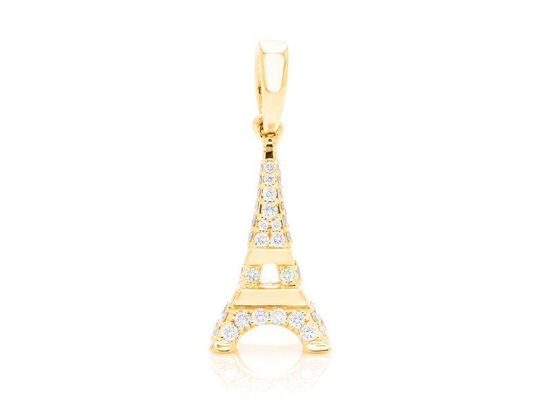 Eiffel Tower Pendant 14K   0.37ctw