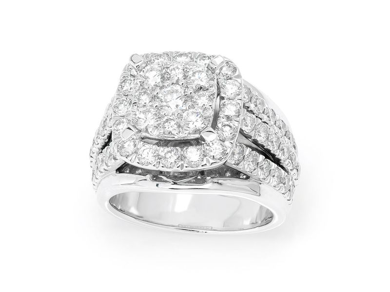 Square Halo Cluster Top 3 Row Ring 14K   2.84ctw