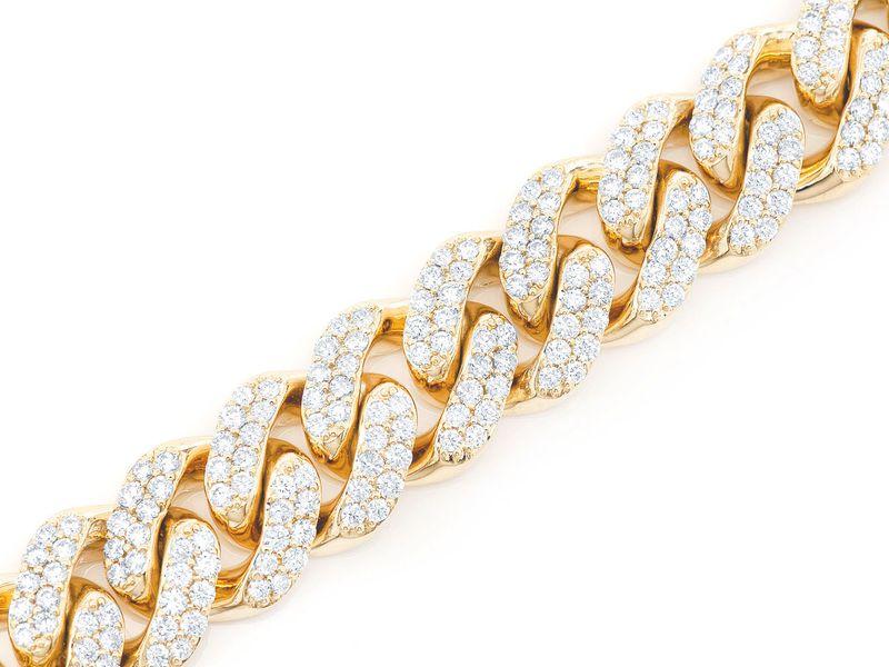 Diamond Cuban Bracelet 14K   12.47ctw