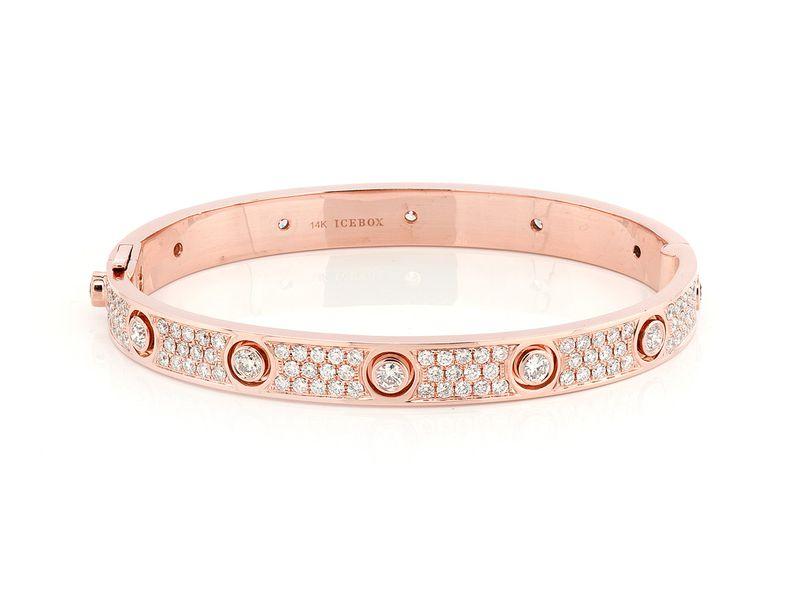 Large Signature Bangle Full Diamond Bracelet 14K   5.75ctw