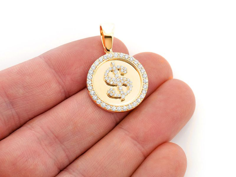 Dollar Sign Circle Pendant 14K   0.96ctw