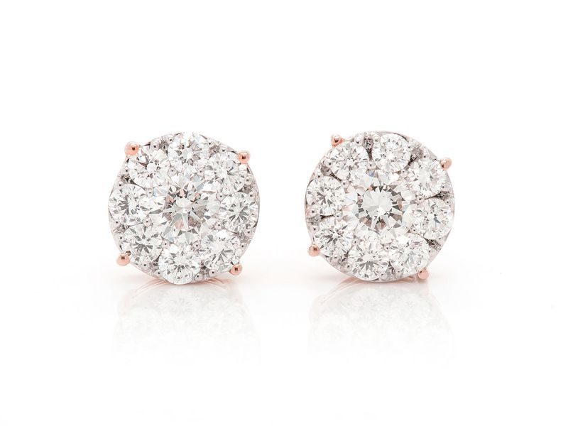 Solitaire Cluster Earrings 14K   1.00ctw