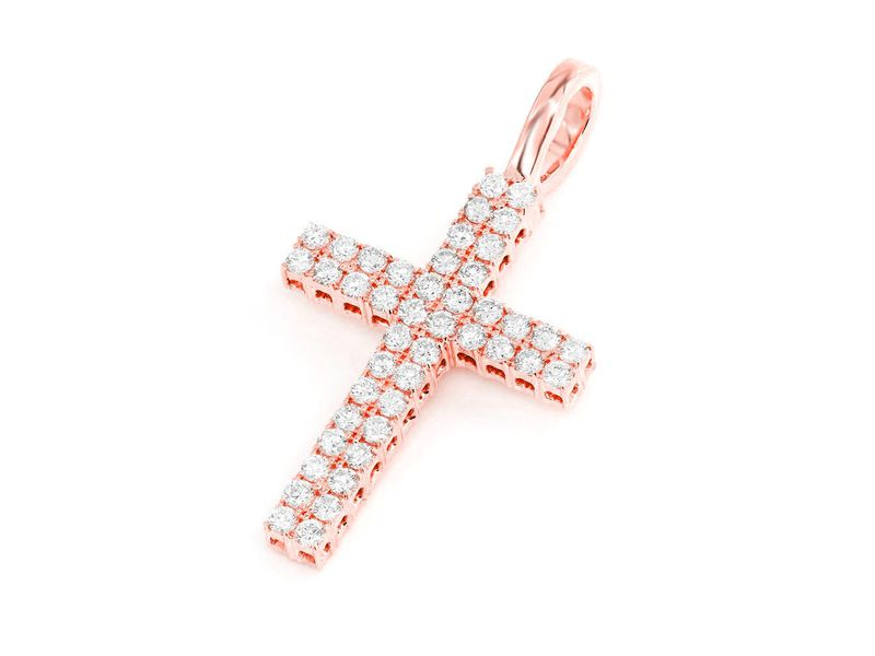 Two Row Cross Pendant 14K   0.86ctw