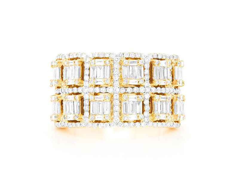 2 Row Baguette Border Ring 14K   2.25ctw