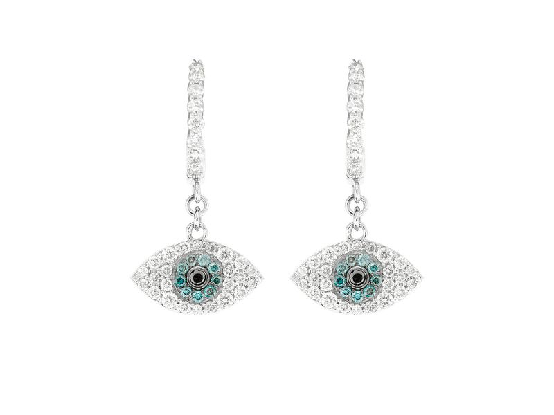 Evil Eye Dangling Hoop Earrings 14K   0.55ctw