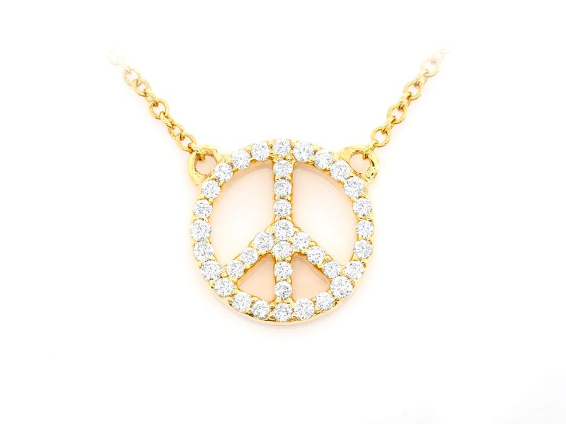 Peace Sign Icon Mica Collection Pendant 14K   0.16ctw