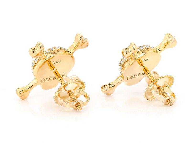 Skull & Crossbones Earrings 14K   0.52ctw