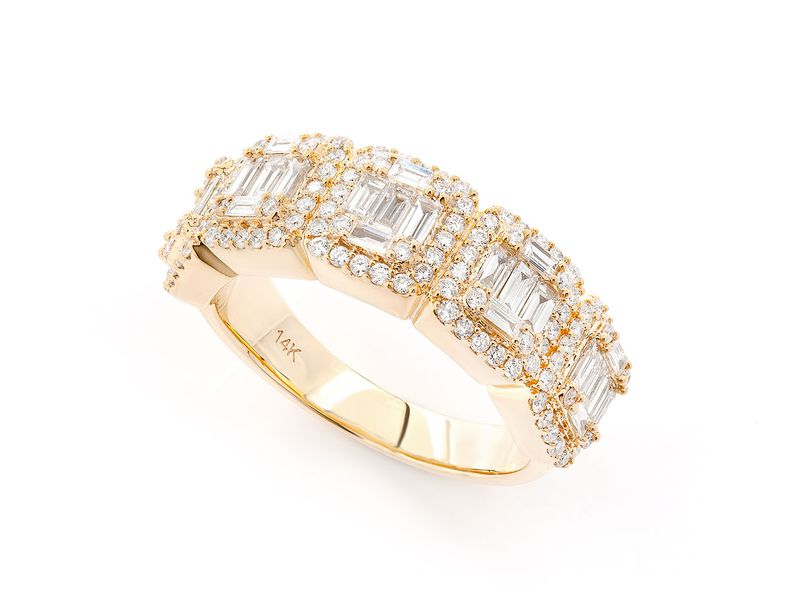 Round & Square Baguette Ring 14K   1.55ctw