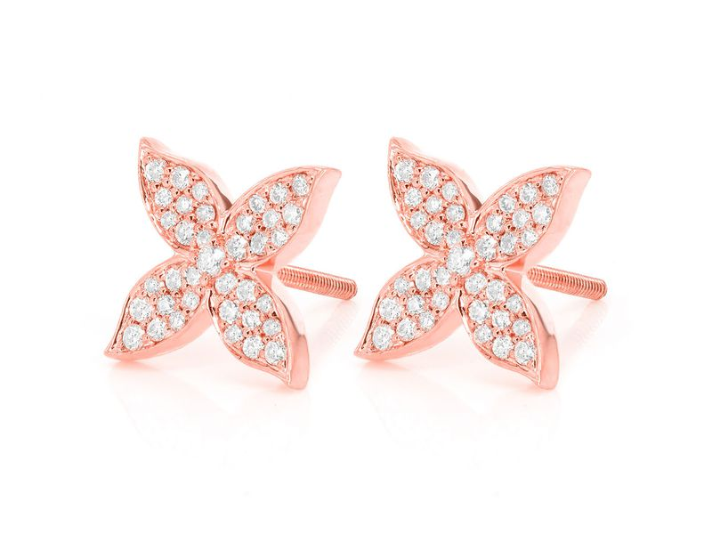 Petal Flower Earrings 14K   0.32ctw