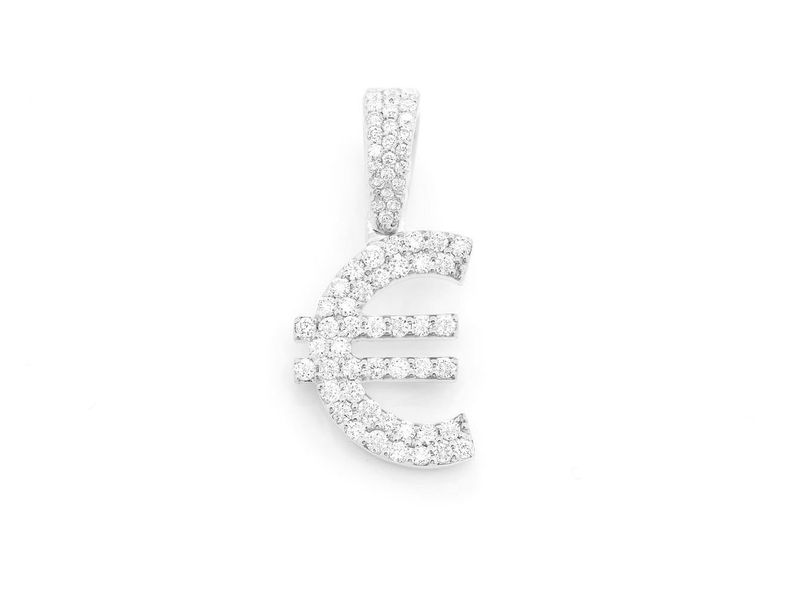 Euro Currency Symbol Pendant 14K   0.47ctw