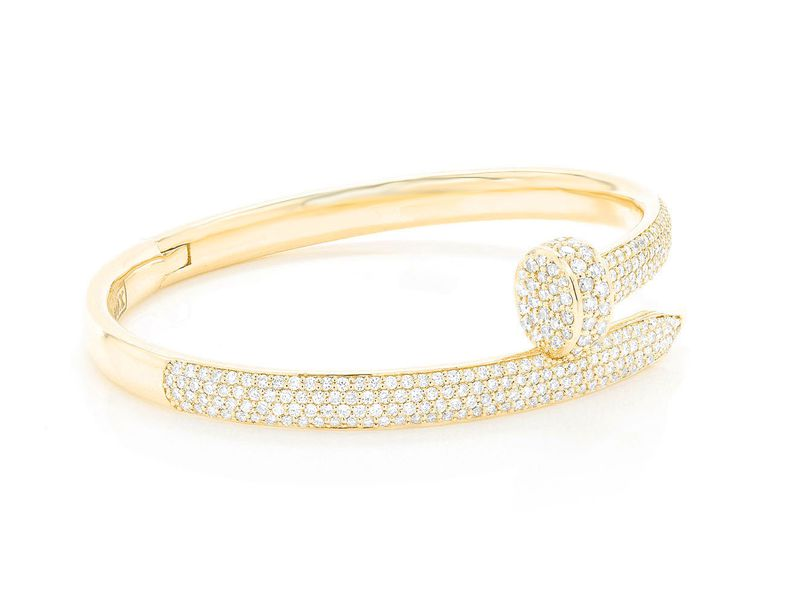 Nail Bangle Half Diamond Bracelet 14K   2.75ctw
