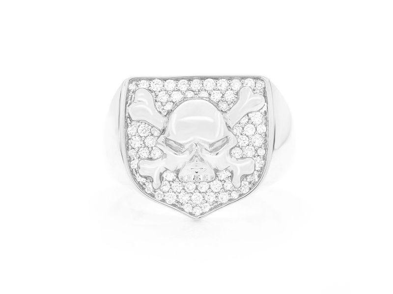 Crossbones Shield Ring 14K   0.60ctw
