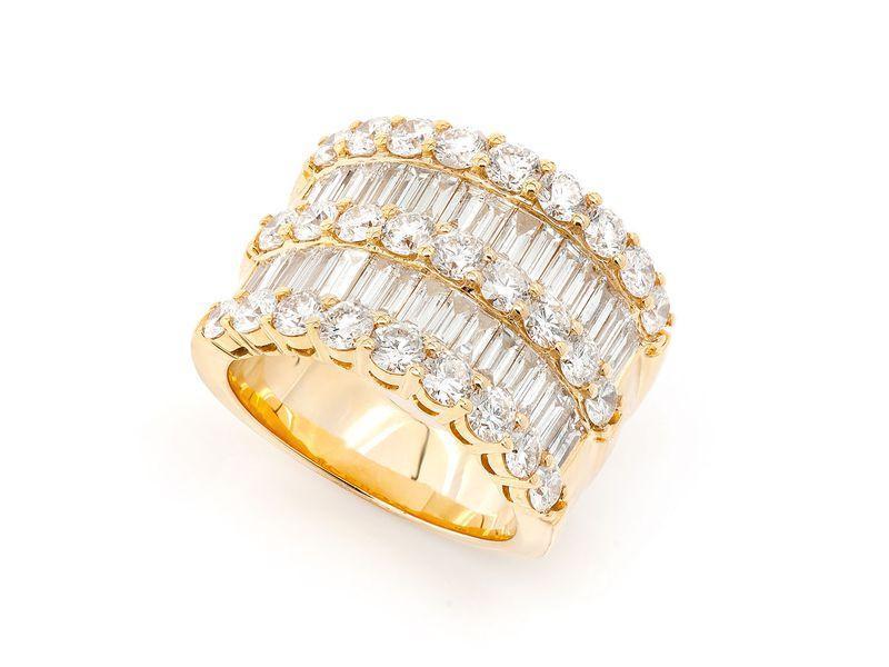 3 Row Diamond Baguette Ring 14K   5.50ctw