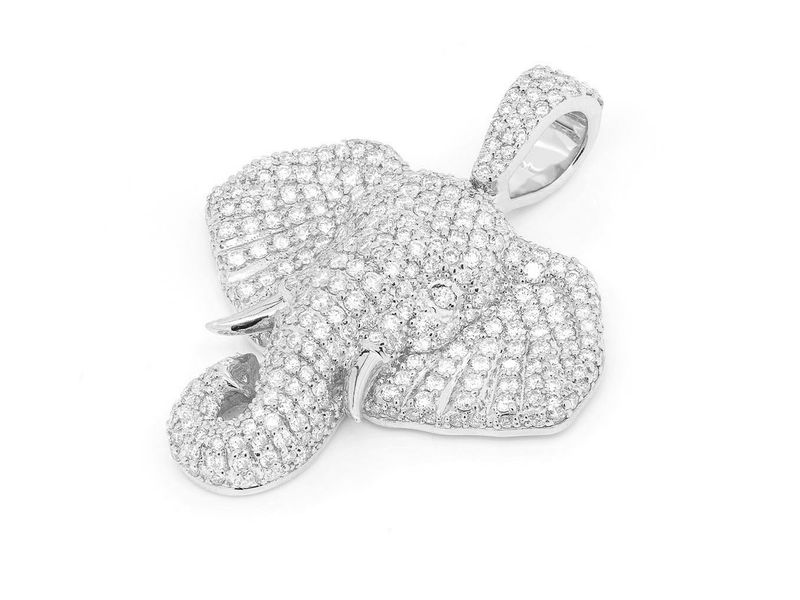 Wise Young Elephant Pendant 14K   2.34ctw