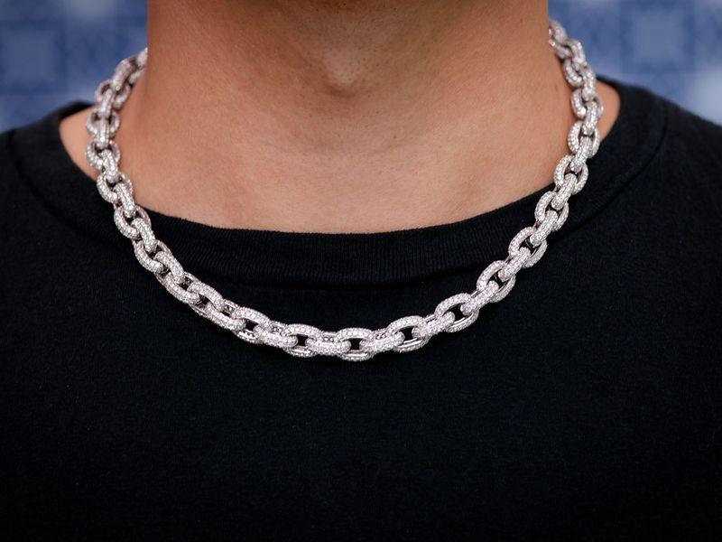 Diamond Rolo Link Chain 10mm Necklace 14K  38.04ctw