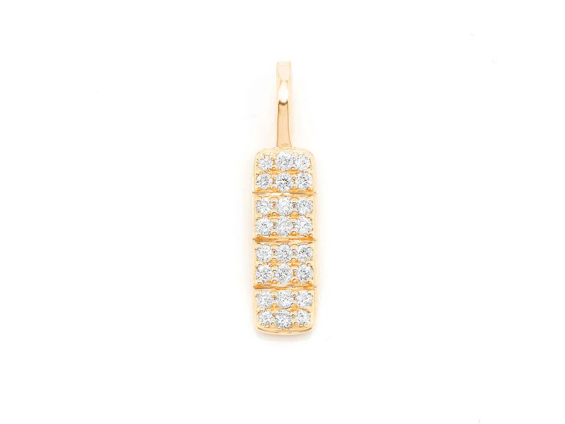 Bar Pill Pendant 14K   0.28ctw